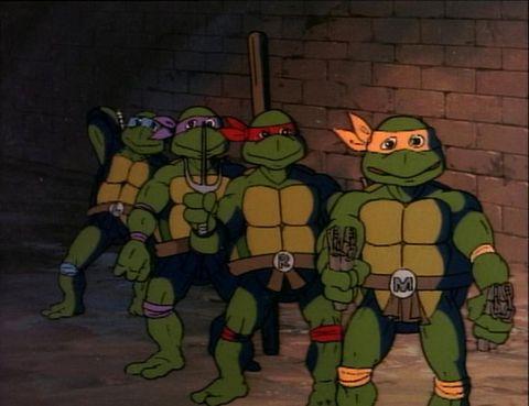 Green, Fictional character, Standing, Animation, Cartoon, Fiction, Superhero, Animated cartoon, Costume design, Teenage mutant ninja turtles,