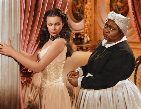 Headgear, Curtain, Window treatment, Turban, Peach, One-piece garment, Makeover, Day dress, Embellishment, Window covering,