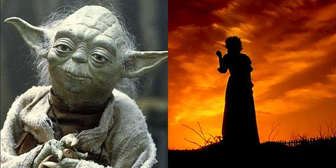 Yoda, Art, Fictional character, Sunset, Sculpture, Toy, Collage, Silhouette, Backlighting, Red sky at morning,