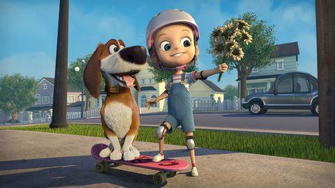Animation, Animated cartoon, Skateboard, Skateboarding Equipment, Longboard, Skateboarding, Rolling, Skateboard truck, Boardsport, Vehicle door,