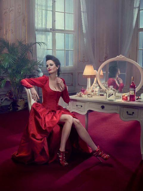 Dress, Table, Interior design, Pink, Flowerpot, Interior design, Houseplant, Carpet, One-piece garment, Gown,