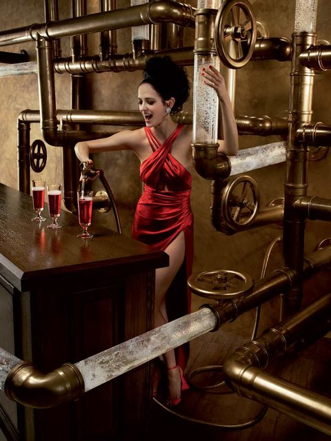 Shoulder, Barware, Metal, Retro style, Physical fitness, Shelf, Perfume, Vintage clothing, Distilled beverage, Shelving,