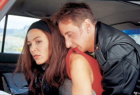 Head, Nose, Eye, Mammal, Interaction, Jacket, Vehicle door, Love, Car seat, Automotive window part,
