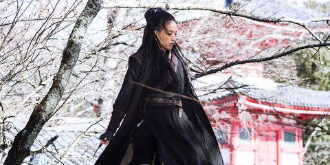 Black hair, Costume, Street fashion, Long hair, Cg artwork, Costume design, Blossom, Cherry blossom, Overcoat, Gothic fashion,