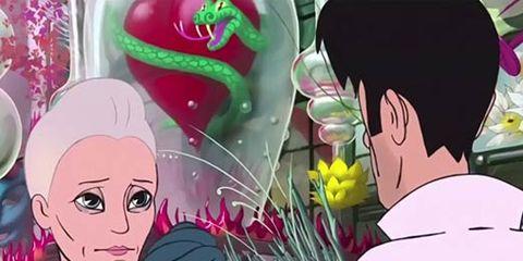 Head, Human, Animation, Mammal, Pink, Style, Interaction, Animated cartoon, Art, Magenta,