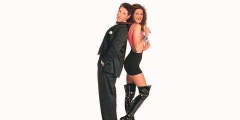 Sleeve, Leather, Knee, Fashion model, Knee-high boot, Waist, Costume, Boot, Photo shoot, High heels,