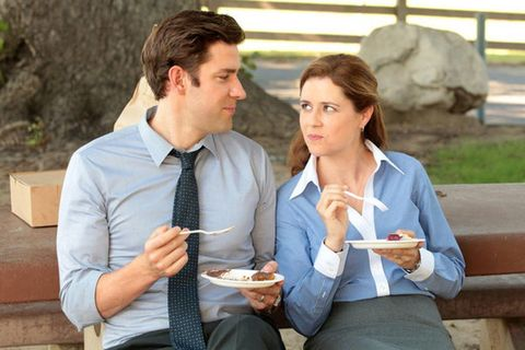 Sharing, Dress shirt, Eating, Plate, Dessert, Conversation, Snack, Food craving, Fast food, Baked goods,