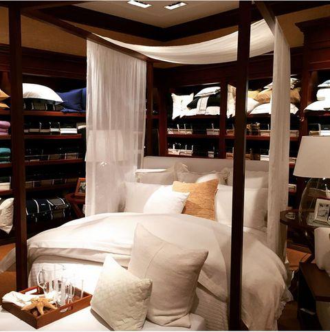 Lighting, Room, Interior design, Bedding, Textile, Bedroom, Linens, Bed, Wall, Bed sheet,