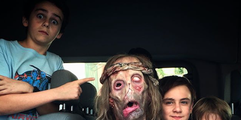 Head, Zombie, Fun, Event, Flesh, Party, Fictional character, Costume, Child,