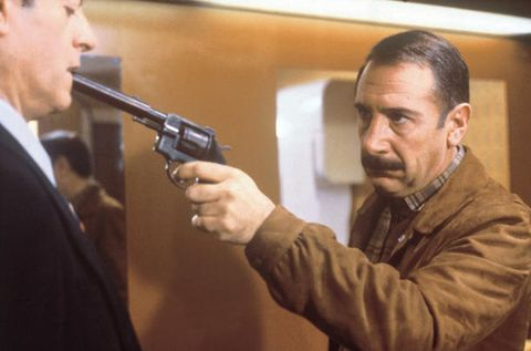 ear, formal wear, suit, shooting, white collar worker, air gun, gun barrel, revolver, gunshot, shotgun,