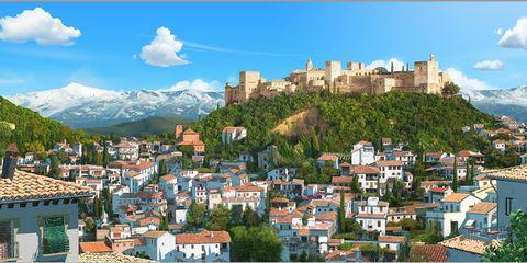 Town, Neighbourhood, Property, Residential area, Real estate, Building, Mountain range, Facade, Roof, Landmark,