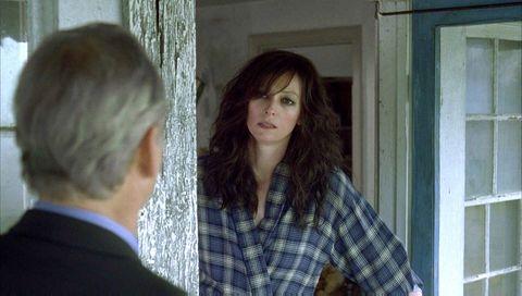 Plaid, Long hair, Tartan, Brown hair, Button, Sash window, Layered hair, Step cutting, Window treatment,