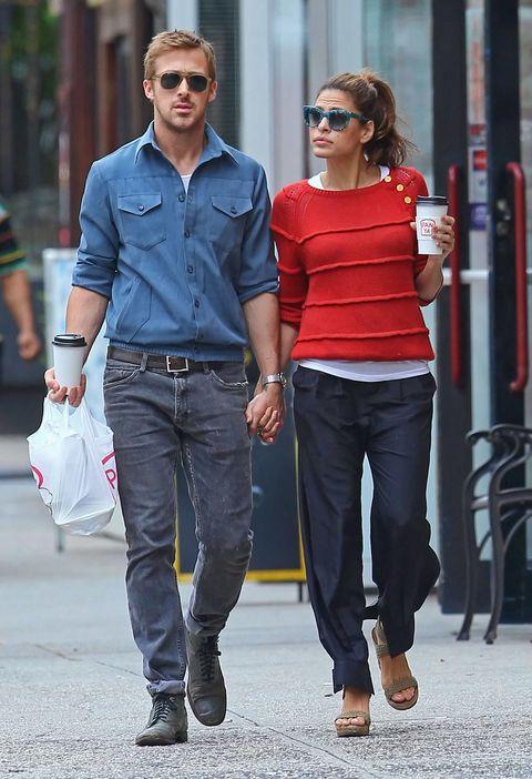 Jeans, Clothing, Street fashion, Denim, Waist, Fashion, Footwear, Shoulder, Sunglasses, Walking,