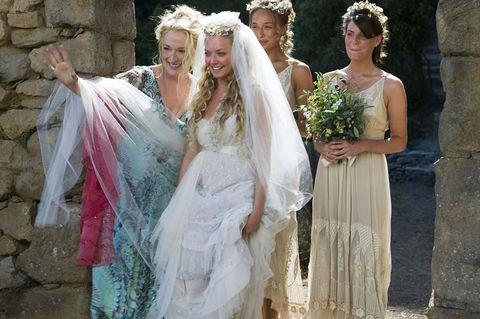 Wedding dress, Bride, Gown, Dress, Bridal clothing, Bridal veil, Bridal accessory, Fashion, Veil, Marriage,
