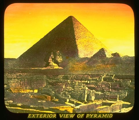 Yellow, Pyramid, Landscape, Tints and shades, Amber, Landmark, Wonders of the world, History, Ancient history, Rock,