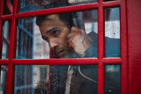 Red, Facial hair, Beard, Telephone booth, Window,