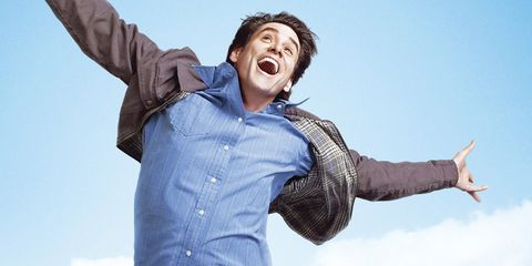 Facial expression, Fun, Happy, Arm, Sky, Jumping, Smile, Standing, Gesture, Cool,