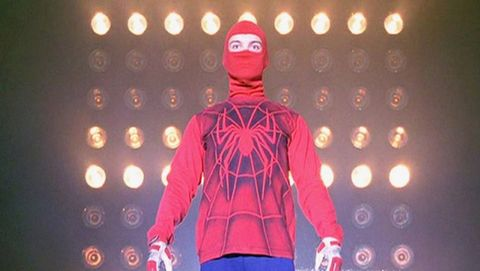 Sleeve, Standing, Carmine, Maroon, Magenta, Electric blue, Spider-man, Costume, Belt, Fashion design,