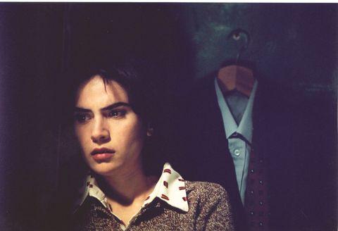 Collar, Sweater, Audio accessory, Portrait, Painting, Tuxedo, Button,