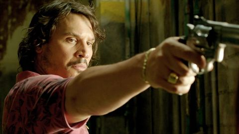 Finger, Shoulder, Wrist, Revolver, Muscle, Shooting, Facial hair, Thumb, Air gun, Beard,