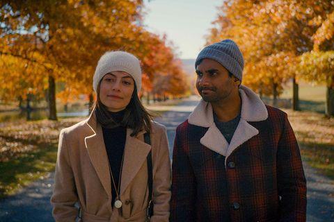 People, Leaf, Autumn, Yellow, Tree, Sky, Outerwear, Headgear, Fun, Beanie,