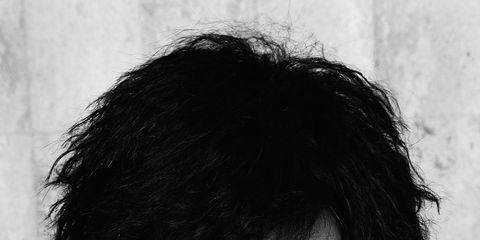 Hair, Face, Hairstyle, Forehead, Eyebrow, Black-and-white, Chin, Portrait, Human, Black hair,