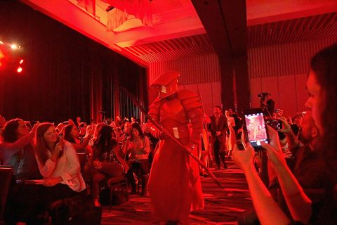 Red, Performance, Event, Performance art, Performing arts, Dance, Room, Crowd, Stage, Night,