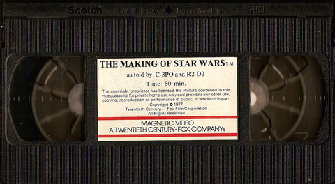 un vhs del documental de 1977, the making of 'star wars'