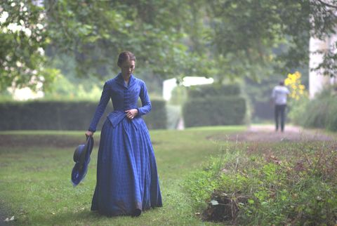 Dress, Formal wear, People in nature, Gown, One-piece garment, Electric blue, Cobalt blue, Bag, Spring, Day dress,