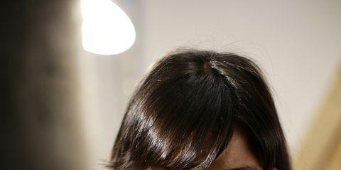 Lip, Hairstyle, Chin, Shoulder, Eyebrow, Bangs, Black hair, Eyelash, Elbow, Beauty,