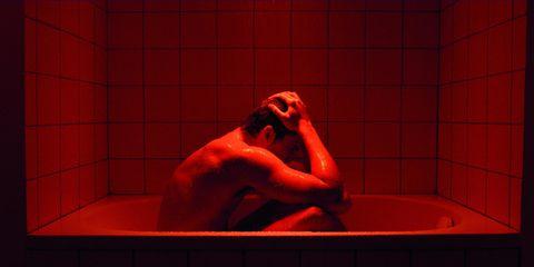 Fluid, Shoulder, Red, Tile, Plumbing, Bathtub, Bathtub accessory, Muscle, Bathroom, Plumbing fixture,