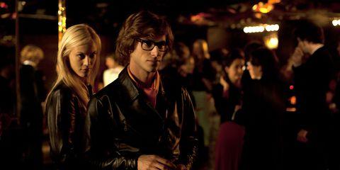 Glasses, Jacket, Fashion, Leather jacket, Street fashion, Leather, Fashion design, Hair coloring, Feathered hair,