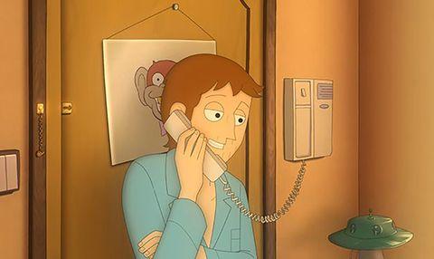 Cartoon, Animated cartoon, Illustration, Art, Door, Room, Fictional character, Fiction,