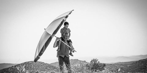 People in nature, Windsports, Adventure, Wind, Monochrome photography, Grassland, Fell, Black-and-white, Air sports, Chaparral,