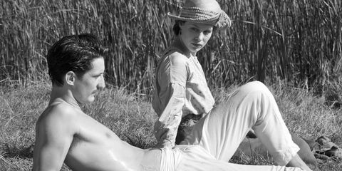 Human body, Hat, People in nature, Summer, Sun hat, Monochrome, Grass family, Fedora, Monochrome photography, Barechested,