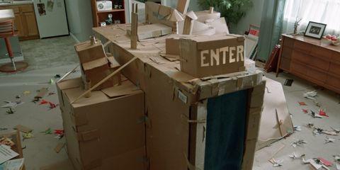 Cardboard, Room, Architecture, Machine, Wood, Furniture,