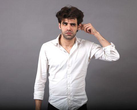 Dress shirt, Collar, Sleeve, Human body, Forehead, Shoulder, Shirt, Elbow, Joint, Standing,