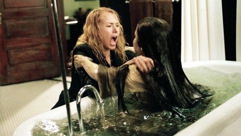 Hair, Fluid, Hairstyle, Liquid, Bathing, Long hair, Curtain, Blond, Brown hair, Layered hair,