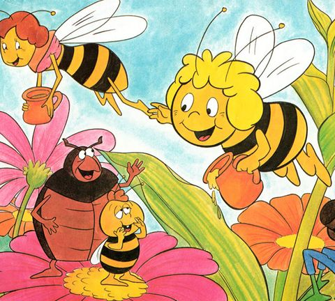 Yellow, Happy, Petal, Facial expression, People in nature, Art, Animated cartoon, Pollinator, Fictional character, Flowering plant,