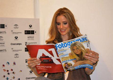 Hairstyle, Eye, Hand, Publication, Beauty, Blond, Brown hair, Long hair, Eyelash, Magazine,
