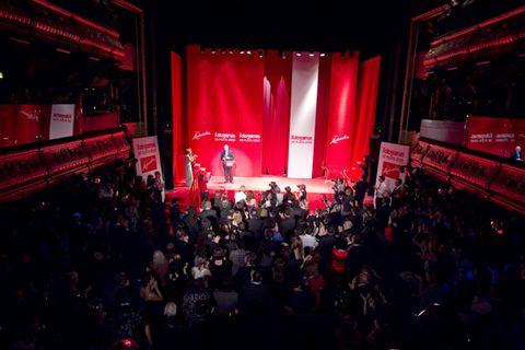 People, Crowd, Audience, Stage, Stage equipment, Music venue, Theatre, Public event, Auditorium, Performing arts center,