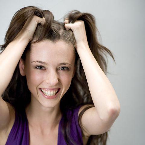 Hair, Hairstyle, Forehead, Eyebrow, Eyelash, Style, Beauty, Purple, Tooth, Long hair,