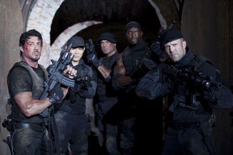 gun, firearm, machine gun, ballistic vest, military person, darkness, soldier, air gun, helmet, shooting,