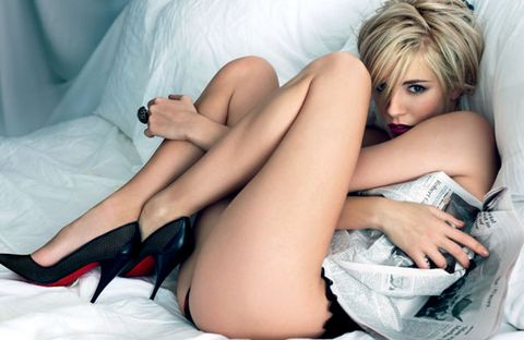Human, Human leg, Comfort, Thigh, Foot, Model, Blond, Undergarment, Agent provocateur, Toe,