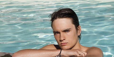 Fluid, Skin, Water, Liquid, Summer, Swimming pool, Muscle, Chest, Black hair, Eyelash,