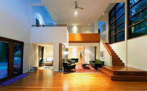 Wood, Lighting, Floor, Interior design, Room, Property, Flooring, Ceiling, Hardwood, Real estate,