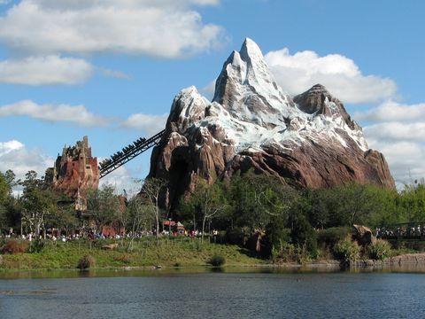 Amusement park, Natural landscape, Rock, Walt disney world, Mountain, Sky, Park, Formation, Recreation, River,