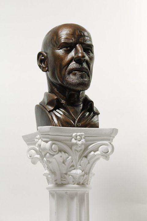 Chin, Bronze sculpture, Forehead, Sculpture, Carving, Art, Artifact, Facial hair, Bronze, Statue,