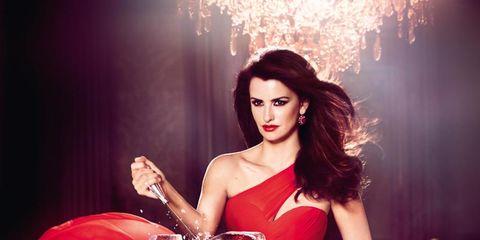 Red, Drink, Strapless dress, Fashion accessory, Fashion, Youth, Fashion model, Perfume, Lipstick, Bottle,