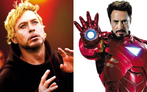 Nose, Iron man, Mouth, Red, Superhero, Fictional character, Avengers, Facial hair, Hero, Gesture,